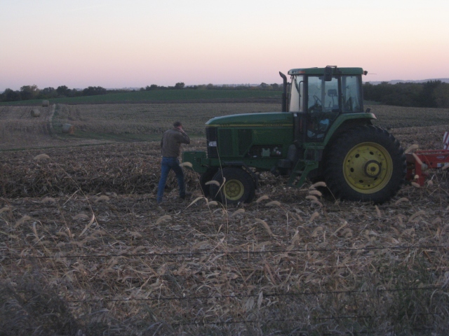 side raking corn stalks