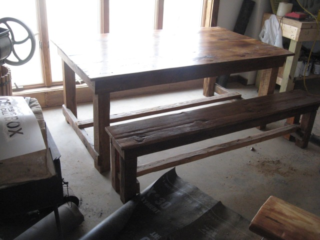 harvest table out of reclaimed wood